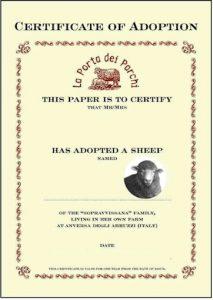 """Il diploma di """"Adotta una pecora"""". L'iniziativa, lanciata nel 2001 conta oggi migliaia di """"genitori adottivi"""" per le pecore"""