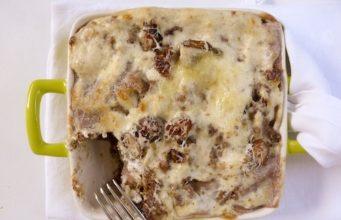 Lasagnetta di farro con castagne funghi e pecorino