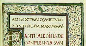 La dedica di Pantaleone da Confienza sulla copia della ''Summa Lacticiniorum'' donata a Sisto IV