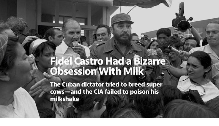 L'apertura del recente articolo di Darien Cavanaugh sul sito web Medium: un ritratto inatteso che ci racconta dell'ossessione di Fidel Castro per il latte - Per leggerlo è sufficiente cliccare sull'ultimo link di questa pagina