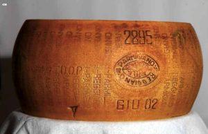 Un Parmigiano Reggiano del 2002, battuto all'asta di Bolaffi a Milano poche settimane fa. Nessun prodotto analogo della pianura può superare integro 13 anni di invecchiamento - foto dal catalogo Bolaffi Aste