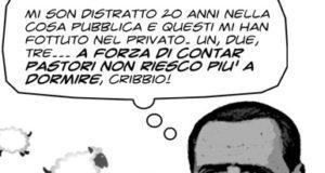 È sempre attuale la vignetta con cui illustrammo l'articolo di cinque anni fa sulla vicenda dei possedimenti sardi di Berlusconi, bloccati dai pastori dell'isola